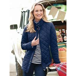 Women's Diamond Quilted Jacket, Classic Navy Blue S Misses, Appleseed's