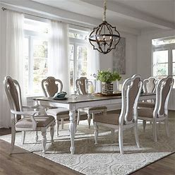 Liberty Furniture - Magnolia Manor 7 Piece Rectangular Table Set - Distressed White Furniture - 244-DR-7RLS