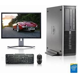 Refurbished - HP DC Desktop Computer 3.0 GHz Core 2 Duo Tower PC, 2gb, 250gb Hdd, Windows 10 Home X64, 17 Inch Monitor , USB Mouse & Keyboard, Black