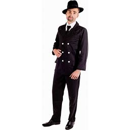 Fun Shack Mens 20s Gangster Costume Mobster Mafia Black Pinstripe Suit Outfit