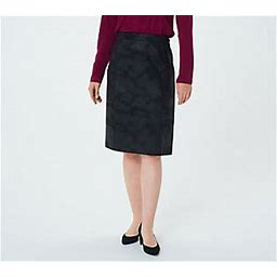Susan Graver Printed Faux Suede Pull-On Pencil Skirt, Size 1X, Black