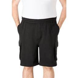 Kingsize Men's Big & Tall Fleece 10 Inch Cargo Shorts, Size: Tall - 5XL, Black