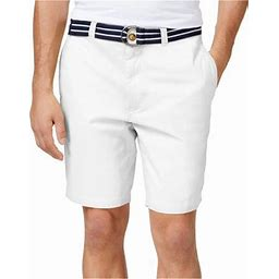 Club Room Mens Flat Front With Belt Casual Chino Shorts, Men's, Size: 44, White