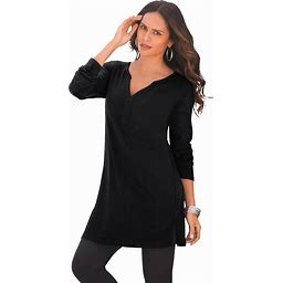 Plus Size Women's Y-Neck Ultimate Tunic By Roaman's In Black (Size ...