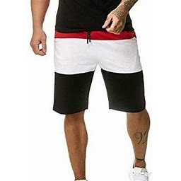 Hcgsss Men's Casual Elastic Waist Multicolor Drawstring Shorts, Size: Large, Red