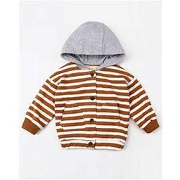 Toddler Boys Striped Cute Hooded Jacket, Toddler Boy's, Size: 12 Months, Brown