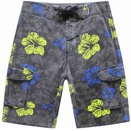 Hawaii Hangover Men's Beach Wear Board Shorts With Pocket In Stone Wash Vintage Black Floral 28
