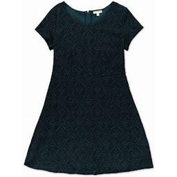 Maison Jules Womens Textured Filigree A-Line Dress, Women's, Size: XS, Green