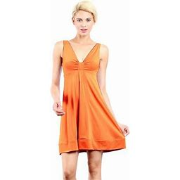 Evanese Women's Short V-neck Dress With Gathering In Center, Size: XL, Orange