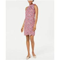 Maison Jules Womens Red Floral Halter Above The Knee Pleated Cocktail Dress Size XS, Women's
