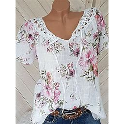 Berrylook Round Neck Lace Up Patchwork Lace Print Blouses Shoping, Online, Summer Tops For Women, Dressy Tops