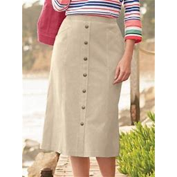 Women's Plus Knit Denim Button Front Skirt, Khaki Tan 1X, Appleseed's