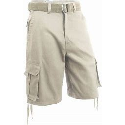 Hat And Beyond Men's Comfort Utility Multi Pockets Twill Cargo Shorts With Belt, Size: 44, Beige