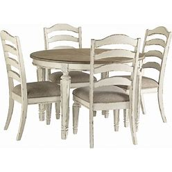 Signature Design By Ashley Realyn Chipped White 5 Piece Dining Set With Oval Table & Ladderback Chairs