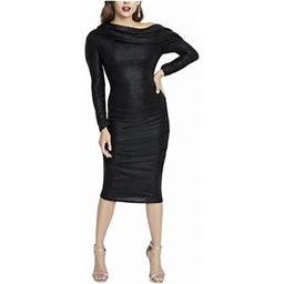 Rachel Rachel Roy Womens Metallic Cocktal Midi Dress Black XS, Women's