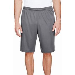 A4 Men's 9 Inch Inseam Pocketed Performance Shorts - N5338, Size: Small, Gray