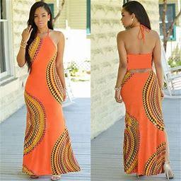 Hirigin Fashion Women Summer Dress Maxi Long Evening Party Dress Beach Dress Sundress, Women's, Size: 3XL, Orange