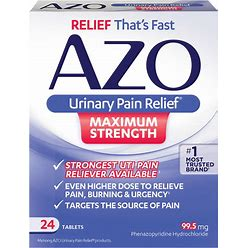 Azo Maximum Strength Urinary Pain Relief, Uti Pain Reliever Tablets 24