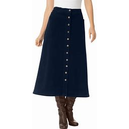 Plus Size Women's Corduroy Skirt By Woman Within In Navy Blue (30 Wide) | Spandex/Cotton