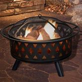 Pure Garden Crossweave 32 Diam. Fire Pit With Free Cover, Black