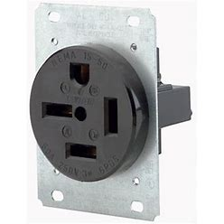 Leviton 50 Amp 250 Volt NEMA 15-50R 3P 4W Flush Mtg Receptacle Straight Blade Industrial Grade Grounding 3-Phase Side Wired (8450)