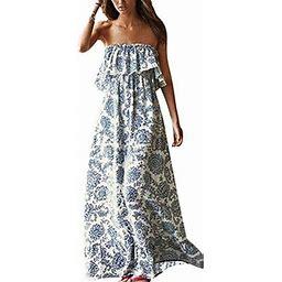 Vista Women Summer Blue And White Porcelain Strapless Boho Maxi Long Dress, Women's, Size: XL