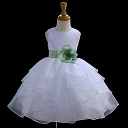 Ekidsbridal Shimmering Organza White Flower Girl Dress Weddings Handmade Summer Easter Dress Special Occasions Pageant Toddler Girl's Clothing Holiday