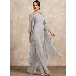 Jjshouse Jumpsuit Pantsuit Square Neckline Floor-Length Chiffon Mother Of The Bride Dress