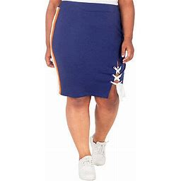 Poetic Justice Womens High Rise Stretch Pencil Skirt-Plus, 3x , Orange