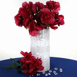 12 Bush 60 Pcs Burgundy Artificial Silk Peony Flowers | By Tableclothsfactory