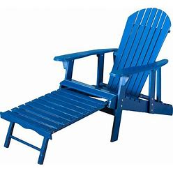 Hayle Wood Outdoor Reclining Adirondack Chair By Christopher Knight Home - Blue