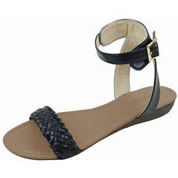 Star Bay New Women's Fashion Casual Braided Buckles Strap Open Toe Flat Sandal Balck, Size: 9, Black