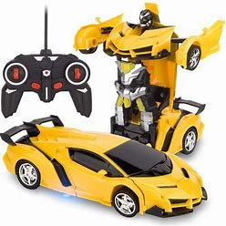 VLSEEK Remote Control Transform Car, Rc Robot Rechargeable 360°Rotating Stunt 1:18 Deformation Racing Car Toy With Cool Sound & Light, One Button