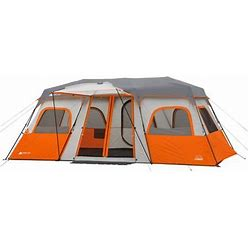 Ozark Trail 12 Person Instant Cabin Tent With Integrated LED Lights, 3 Rooms, Orange