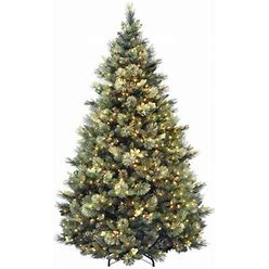 Industrial Lodge Home Isenhour Green Artificial Christmas Tree With Clear/White Lights In Green/White   Size 90.0 H X 64.0 W In