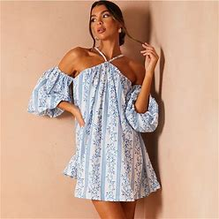 In The Style Dresses | Nwt {In The Style} Blue Printed Puff Sleeve Trapeze Dress | Color: Blue/White | Size: 6