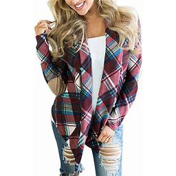 FreshLook Women's Plaid Print Long Sleeve Elbow Patch Draped Open Front Cardigan Sweater, Size: 2XL, Purple