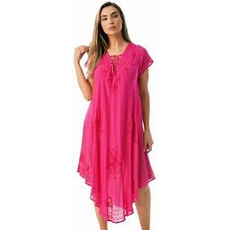 Riviera Sun Lace Up Acid Wash Embroidered Dress Short Sleeve Dresses For Women (Fuchsia, 2X), Women's, Size: 2XL, Pink
