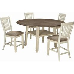 Bolanburg Collection 5-Piece Dining Room Set With Round Counter Table And 4 Barstools In