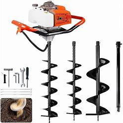 """ECO LLC 63Cc 3.4HP Gas Powered Auger Post Hole Digger With Two Earth Auger Drill Bit 6"""" & 10"""" + Extention For Any Earth Ice Digging/Drilling"""