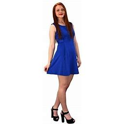 Peach Couture Womens Solid Color Sleeveless Princess Seam A Line Dress Blue Large, Women's