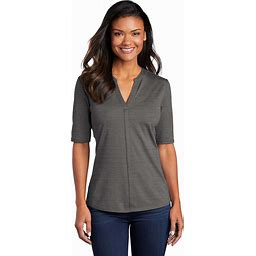 Port Authority Women's Stretch Heather Open Neck Top - /Thunder Grey - 3XL - LK583-Black