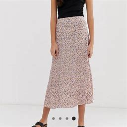 New Look Skirts | New Look Tall Floral Midi Skirt | Color: Orange/Purple | Size: 8