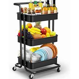 3-tier Rolling Utility Cart With Handle, Storage Cart Organizer With Lockable Wheels Makeup Cart Organizer Craft Art Cart Multi-Purpose Trolley Cart