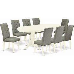 East West Furniture Vancouver 9-Piece Wood Dinette Set In Linen White - VAEL9-LWH-07