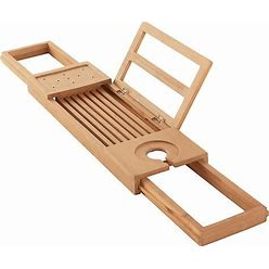 Haven Teak Expandable Tub Tray In Natural - Haven - Shower Caddies - Tub Caddy - Natural