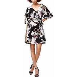 Bar Iii Womens Bubble-Sleeve Wrap Dress, Women's, Size: XS, Black