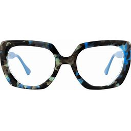 Zeelool Square Prescription Glasses Blue-Tortoise Frames Acetate