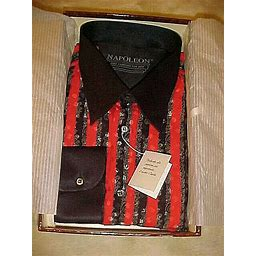 Mens Napoleon Black & Red Silk Shirt In Box Purchased At Trump Tower