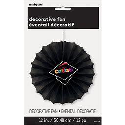 12 Inch Congrats Graduation Tissue Paper Decorative Fan, Black